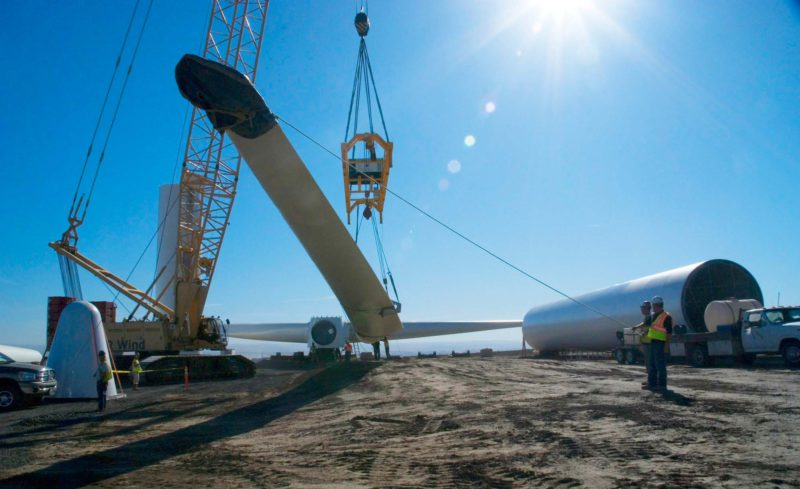 crane lifting wind energy equipment