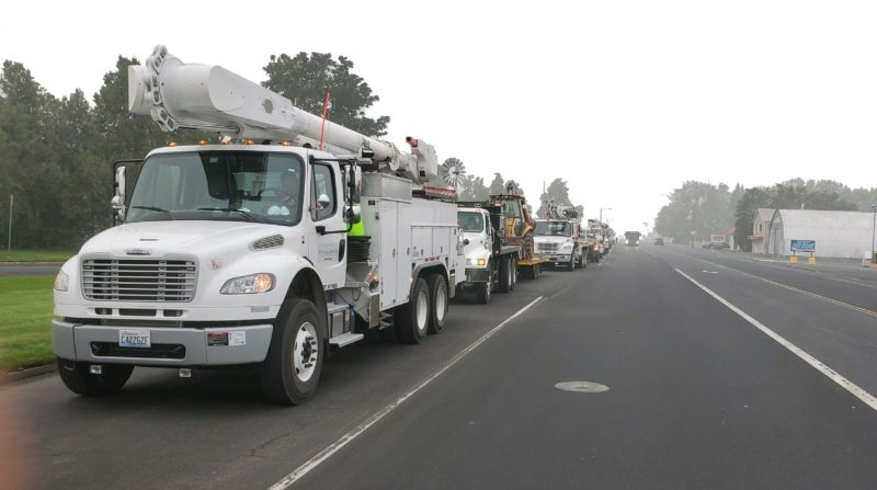 bucket truck on side of the road