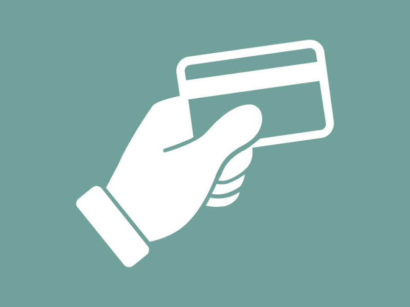 Icon of hand holding credit card