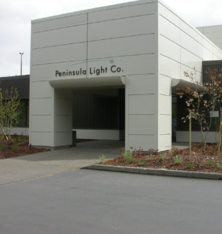 front of Peninsula Light Company building