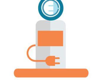 Car charging station illustration