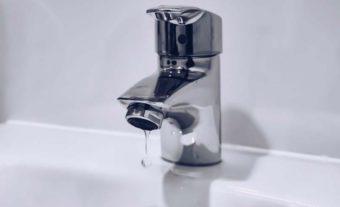 Drop from a bathroom faucet.