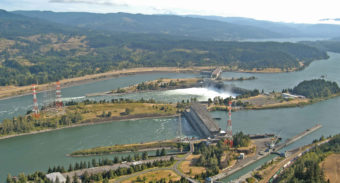 Aerial view hydroelectric dam