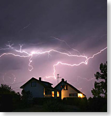 lightning strikes house
