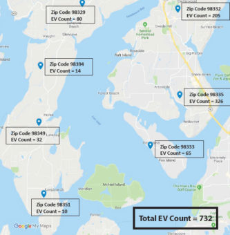 Map showing how many EVs are registered in PenLight's service. Total EV count= 732