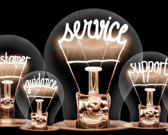 "Lightbulbs with the light reading ""service, support, customer, help, guidance""."