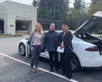3 women standing in front of a white Tesla Model S