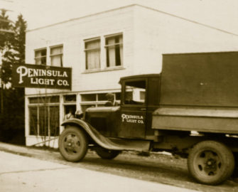 Circa 1930, first Penlight Headquarters building. located on North Harborview Drive next to Donkey Creek..